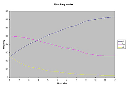 Graph with Generations on the X axis and allele frequency on the Y axis. P-squared increases in a sigmoidal curve from 0.25 to 0.75. q-squared decreases in a sigmoidal curve from 0.75 to 0.25. 2PQ decreases steadily from 0.5 to 0.26.